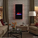 Clevr 32' Vertical Wall Mounted Fireplace Heater, with Adjustable LED...