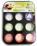 Guardini Gardenia, Stampo 12 muffins+60pirottini in carta, Acciaio con rivestimento antiaderente, Colore nero
