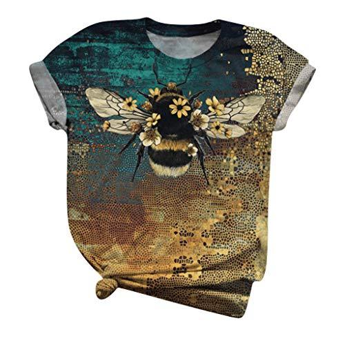 Vintage Stil T-Shirt Kurzarm Damen Sommer, Casual Basic Shirts Sommer Oberteile Baumwolle Tshirts Crew Neck Blickdicht Blusen Sport Tops Teenager Mädchen Loose Oversize Shirt Mode Tunika