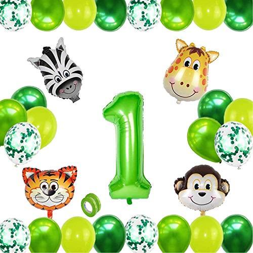 Folienballon Zahl 1 Grün,Folienballon Zahlen,Urwald Party Deko,Safari Tier Ballon,Latexballons für Helium Grün,Luftballon 1. Geburtstag,Geburtstagsdeko Junge 1 Jahr Grün