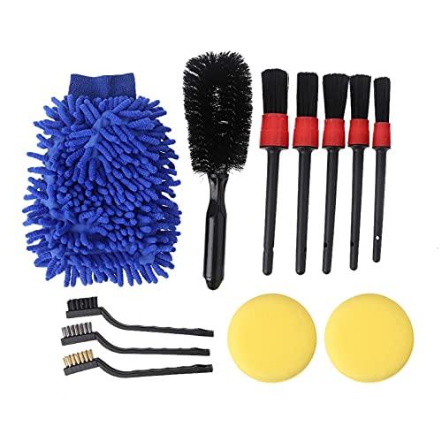 HYSJLS Juego de 15 brochas para coche con detalles encerados, cepillo de alambre para salida de aire, cepillo de cepillo para limpieza de esponja