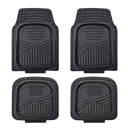 August Auto Heavy Duty Universal Fit 4pcs Deep Tray Rubber Car Floor Mats Fit for Sedan, SUVs, Truck and Vans