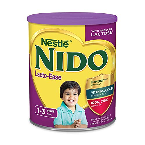 Nestle NIDO Lacto-Ease Whole Milk Powder 1.76 lb. Canister | Reduced Lactose Powdered Milk Mix (2 Pack)