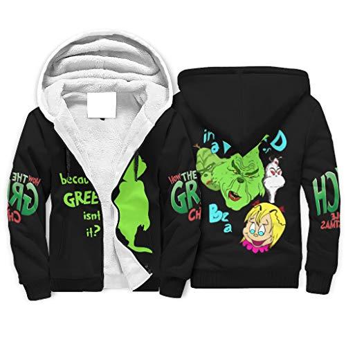 Niersensea Teenager Adult Sherpa Hoodie Jacket Sweatshirt Christmas Green Grinch Leisure Hoodies Tops Winter Jacket with Hood and Zip White 5XL