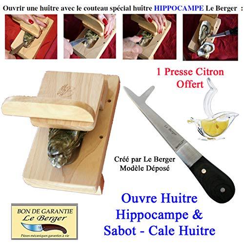 Le Berger Couteau Ouvre huître Hippocampe, Lame Double Fonction, Tranche Net Le Muscle en 1 Seul Mouvement, Sécurité, Rapidité, Efficacité Sabot - Cale Huitre + Presse Citron Offert
