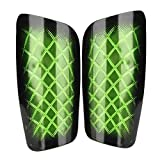 01 Espinilleras de fútbol para Adultos, 5 Colores, cómodas y Transpirables, para Deportes de fútbol para Adultos(Green)