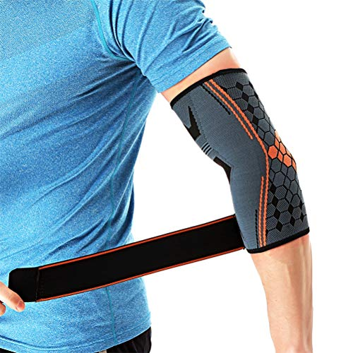 Makasy 2 Stück Sport Ellenbogen Bandage Atmungsaktiv Ellenbogen Pads Basketball Volleyball Fitnessraum Einstellbar Sport Sicherheit Arm Hülse Pads