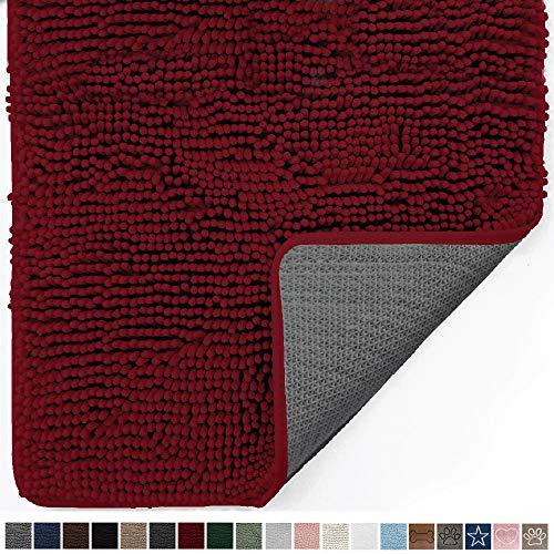 Gorilla Grip Original Indoor Durable Chenille Doormat, Large, 48x30, Absorbent, Machine Washable Inside Mats, Low-Profile Rug Doormats for Entry, Back Door, Mud Room Mat, High Traffic Areas, Burgundy