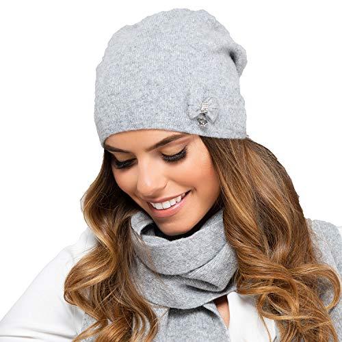 Kamea Damen Mütze Kopfbedeckung Herbst Winter Floryda, Grau,Uni