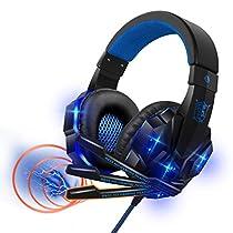 2020最新版 密閉型 ゲーミング ヘッドセット ゲームヘッドホン マイク付き 遮音 高音質 有線 3.5mm LED発光