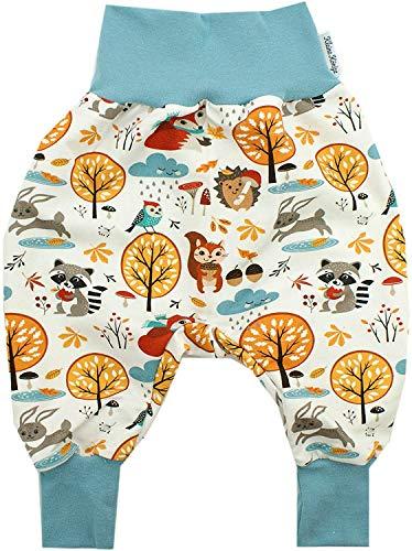 Kleine Könige Pumphose Baby Sweathose Jungen · Modell Waldtiere Cozy Forest, Rauchblau · Ökotex 100 Zertifiziert · Größe 86/92