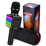 BONAOK Wireless Bluetooth Karaoke Microphone with controllable LED Lights, 4 in 1 Portable Karaoke Machine Speaker for Android/iPhone/PC (Black)