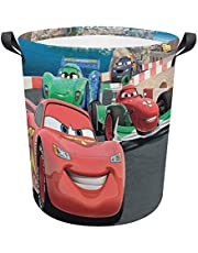 D_isney Cars Competition Cartoon 3D Gedrukte Circulaire Waterarme Opvouwbare Hamper Vuile Kleding Wasmand Opbergtas met Duurzaam Handvat voor Slaapkamer, Beidekamer, Speelgoed