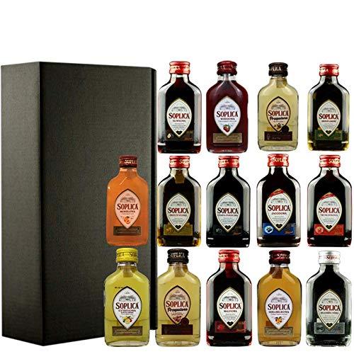 Soplica Probierset Minis in Geschenkbox   14 Soplica Wodkas/Liköre in der Probiergröße   je 0,1 Liter - (36,42€/Liter)