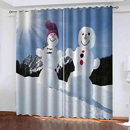 GXLOGA Juego de 2 cortinas opacas para ventana Cortinas con ojales aislantes térmicos Estampado de muñeco de nieve blanco muy suaves decoración para Bebe Habitación Dormitorio Salón Balcón 300x270 cm(