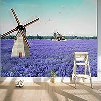 風車とラベンダーの結婚式の部屋の紫色の花と3D壁画壁画ビニール壁紙3D壁画壁画