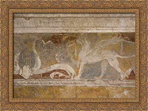 Kaveney, Wendy 40x28 Gold Ornate Framed Canvas Art Print Titled: Italy, Pompeii Fresco Details in The Forum Baths