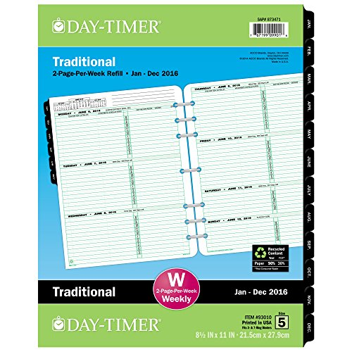 DayTimer Classic Folio-Size Weekly Refill 2016, 8.5 x 11 Inches Page Size (930101601)