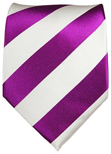 Cravate homme rose blanc rayée 100% soie