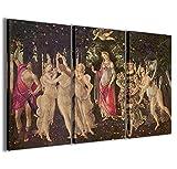 Stampe su Tela, Botticelli-Sandro-Primavera Quadri Moderni in 3 pannelli già intelaiati, canvas, pronto per essere appeso, 100x70cm