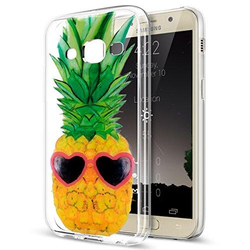Coque Galaxy J3 Pro Silicone Etui Housse Coloré Art Peint Cristal Clair TPU Transparente Silicone Gel TPU Housse Etui de Protection Case Coque pour Galaxy J3 Pro,Lunettes d'usure de l'ananas