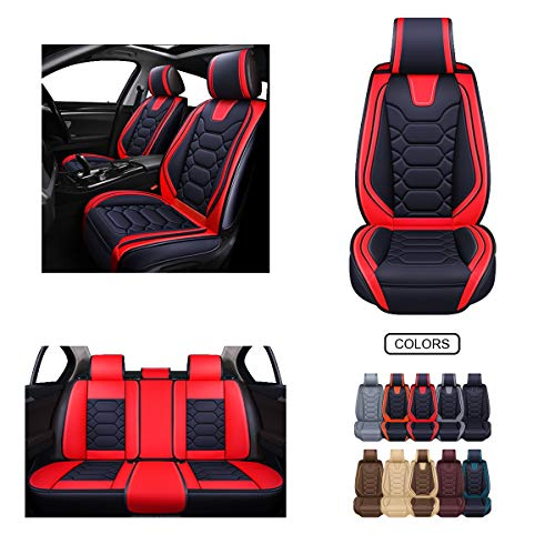 OASIS AUTO Leather Car Seat Covers, Faux Leatherette Automotive Vehicle Cushion Cover for Cars SUV Pick-up Truck Universal Fit Set for Auto Interior Accessories (OS-004 Full Set, Black&RED)