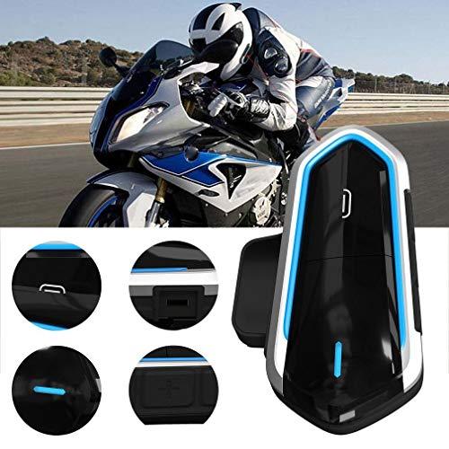 Casco De Intercomunicador De Motocicleta Qtb35 para Auriculares Compatibles con Interfono Negro Y Azul