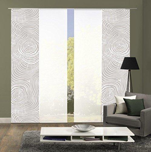 Home Fashion 94133 | 4er-Set Schiebegardinen Madera | blickdichter Dekostoff & transparenter Halborganza | 4X jeweils 245x60 cm | Farbe: Natur