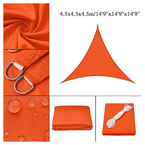 HOXMOMA Sun Shade Sail Triangle 14'9''x14'9''x14'9'' Imperméable UV Block Canopy 300D Oxford Awning Shade Cover for Patio Backyard Garden Deck Outdoor Installation and Activities,Orange
