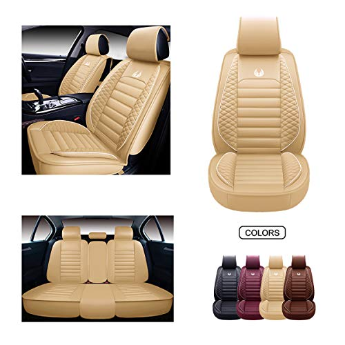 OASIS AUTO OS-011 Leather Car Seat Covers, Faux Leatherette Automotive Vehicle Cushion Cover for Cars SUV Pick-up Truck Universal Fit Set for Auto Interior Accessories (Full Set, TAN)