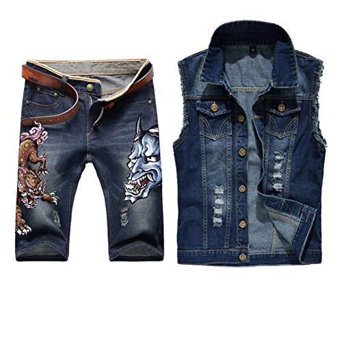 Men Jean Vest Jacket Set Retro Ripped Destroyed Skinny Hole Top Denim Short Pants Summer Beach Wear Blue Lions Blue L