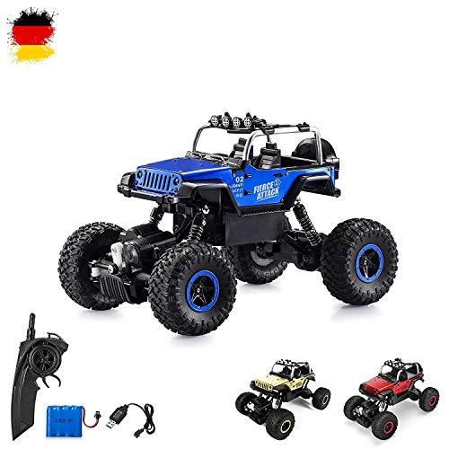 RC Auto kaufen Crawler Bild: Ferngesteuertes Autos,RC Auto Rock Crawler,1:18 Ferngesteuertes Monstertruck,4WD Elektrisches Offroad Fahrzeug (Blau)*