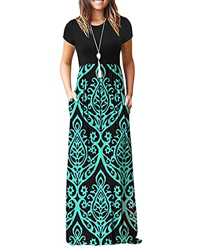 AUSELILY Women Short Sleeve Loose Plain Casual Long Maxi Dresses with Pockets (XL, Black Green)