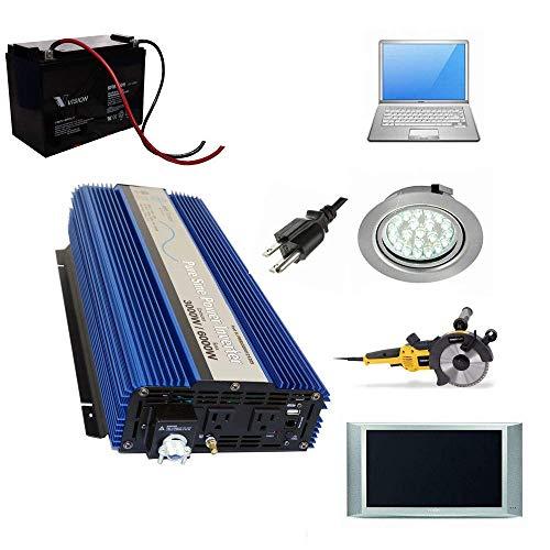 AIMS Power 3000 WATT Pure SINE Power Inverter 12 VDC to 120 VAC - UL Listed