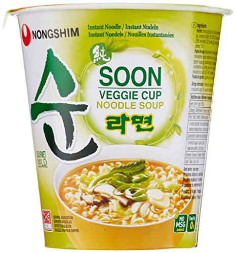Nong Shim Instantnudeln Soon Veggie Ramyun – Koreanische Gemüse Cup Suppe mild - Instantessen - schnelle Zubereitung – 12er Vorteilspack à 67g