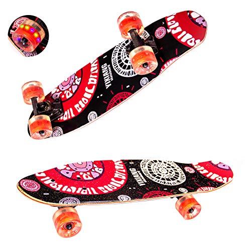 Sumeber Skateboard Komplette Cruiser Skateboard für Anfänger 61x17cm ABEC-9 Kugellager 7-Lagiger Double Kick Deck Concave Skateboard mit LED-Blitzräder für Kinder Jugendliche Erwachsene