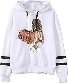 LOPELY Women's Stripe Long Sleeve Hoodie Sweatshirt Lady Print Baggy Hooded Top Ribbed Drawstring Soft Hoodie Ladies Hoody