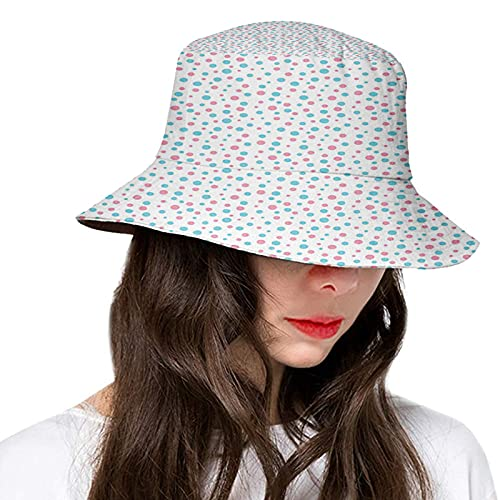 Fashion Women's Men's Summer Bucket Hat Outdoor Sun UV Protection Casual Fishing Cap Geometric Simplicity Pattern with Irregular Rounds Sweet