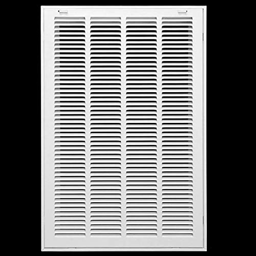 16' X 20' Steel Return Air Filter Grille for 1' Filter - Removable Face/Door - HVAC Duct Cover - Flat Stamped Face -White [Outer Dimensions: 17.75w X 21.75h]