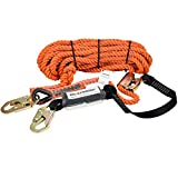 WELKFORDER 50FT Vertical Lifeline Assemble Three Strand Rope Fall Protection with Rope Grab Snap Hooks Shock Absorber Fall Protection Safety Equipment ANSI Compliant