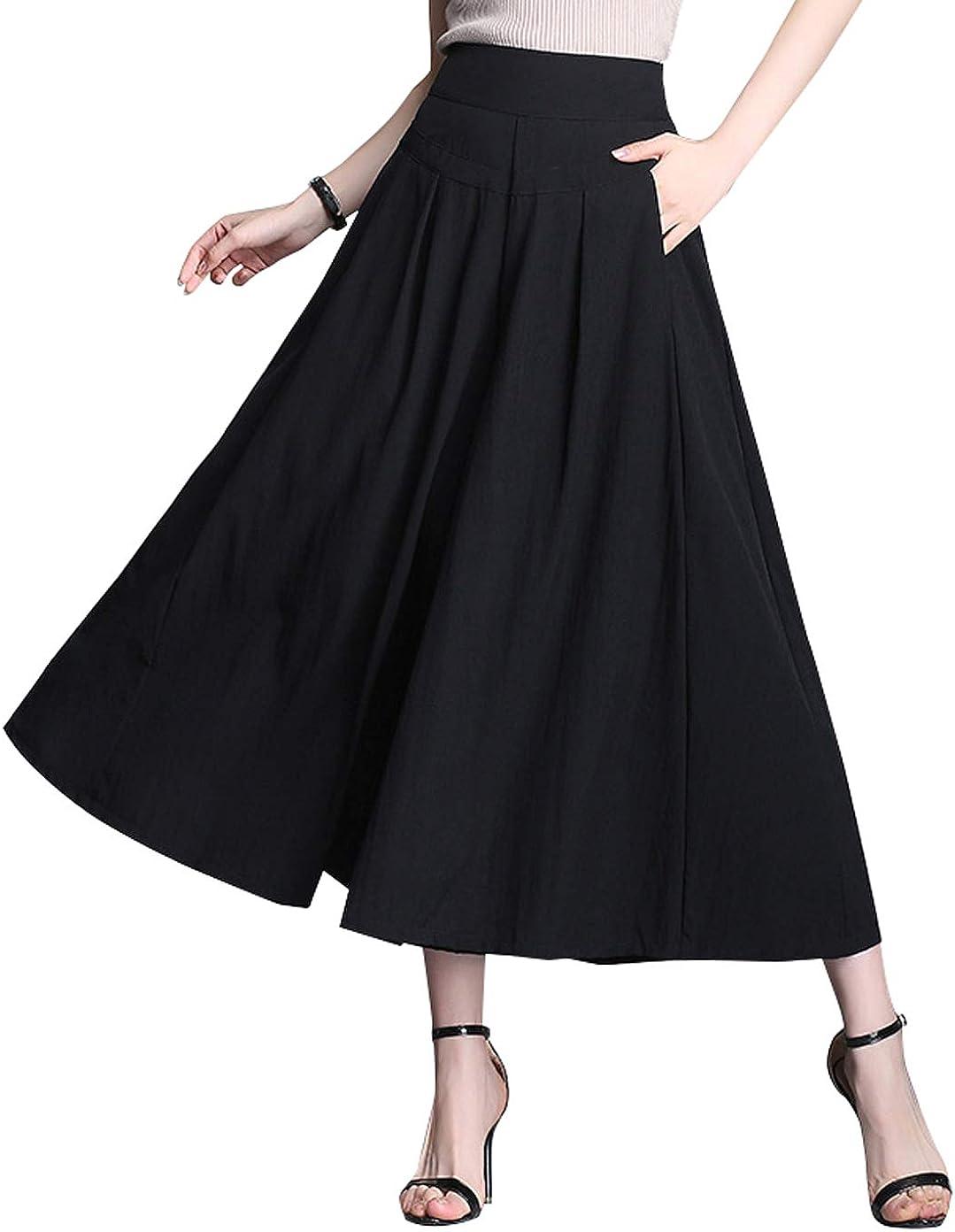 CHARTOU Womens Chic High Rise Wide-Leg Palazzo Culottes Pant Skirts