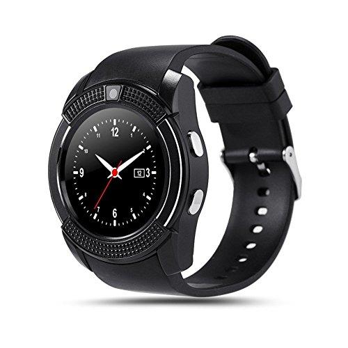 Reloj inteligente TKSTAR con Bluetooth Teléfono, deportes, estado físico - Notificación de mensajes Podómetro Monitor de descanso Distancia corta caminando Pulsera inteligente inalámbrica juv8, negro