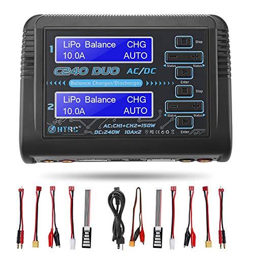 Aorika LiPo Battery Charger Discharger Balance Dual AC150W DC240W 10A C240 Duo 1-6S RC Chargers for Li-ion Life NiCd NiMH LiHV PB Smart Battery