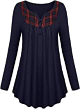 DressU Women's Button Down Autumn Relaxed-Fit Splicing Plaid Long-Sleeve Blouse Tops