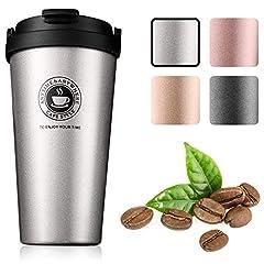 Idea Regalo - Gresunny Tazza da caffè isolata Tazza da Viaggio a Doppia Parete Isolamento sottovuoto in Acciaio Inossidabile con Coperchio a Tenuta stagna Tazza Termica Riutilizzabile per caffè tè Acqua
