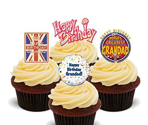 Gelukkige Verjaardag Opa, Whisky Lover Eetbare Cake Decoraties - Stand-up Wafer Cupcake Toppers