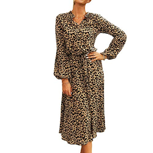 DISSA DC3252 - Vestido de manga larga para mujer, diseño de leopardo caqui 42