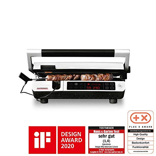 Gastroback 42539 Design Advanced Control, Kontaktgrill, Tischgrill, BBQ, Indoor-Grill, Grillthermometer, 6 Grillprogramme, Grillplatten spülmaschinengeeignet, Edelstahl, silber, schwarz