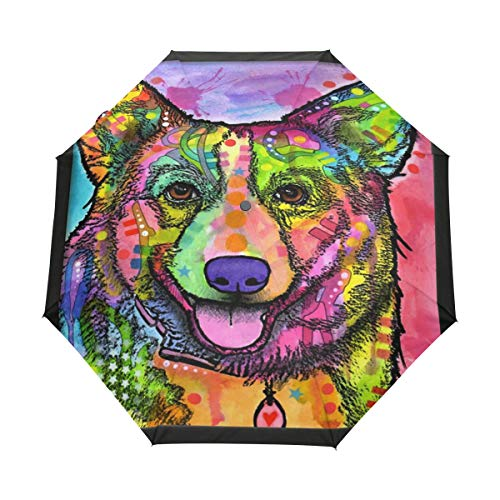 SLHFPX Compact Travel Umbrella Abstract Corgi Dog Auto Umbrellas Windproof for Women Men Kids Portable Rain Sun UV UPF Folding Reverse Umbrella with Automatic Open Close Button