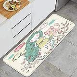 Alfombra de Cocina Antideslizante,Lindo,Signo del zodíaco,Acuario,Vector,ilustración,Estera de Cocina Felpudos Decorativo Alfombra para Dormitorio Baño Pasillo 45 x 120cm